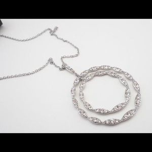 Silver Tone Multi-Circle Crystal Necklace